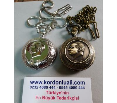 Köstekli Cep Saati Atatürk Temalı Gümüş Veya Bronz