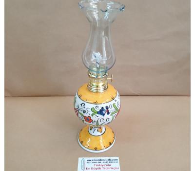 Çini Gaz Lambası 25 cm Sarı