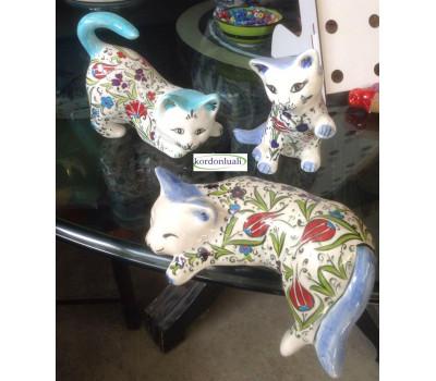 Seramik Çini İşlemeli Kedi Figürü